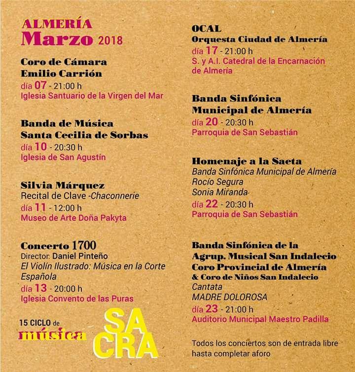 Programa musica sacra. Semana Santa Almería 2018